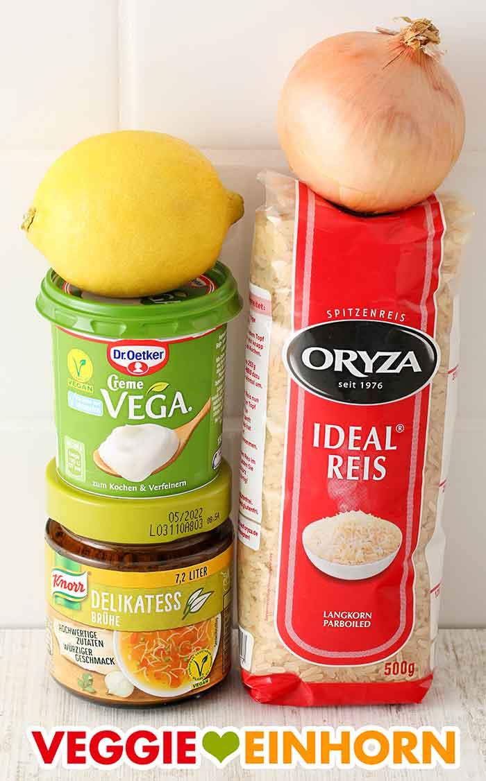 Zitrone, Zwiebel, vegane Creme fraiche, Langkornreis, Gemüsebrühe Pulver