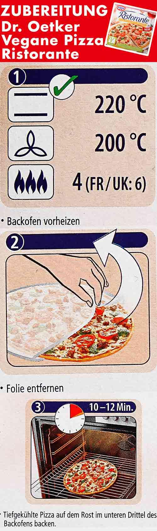 Zubereitungsanweisung der veganen Pizza von Dr. Oetker