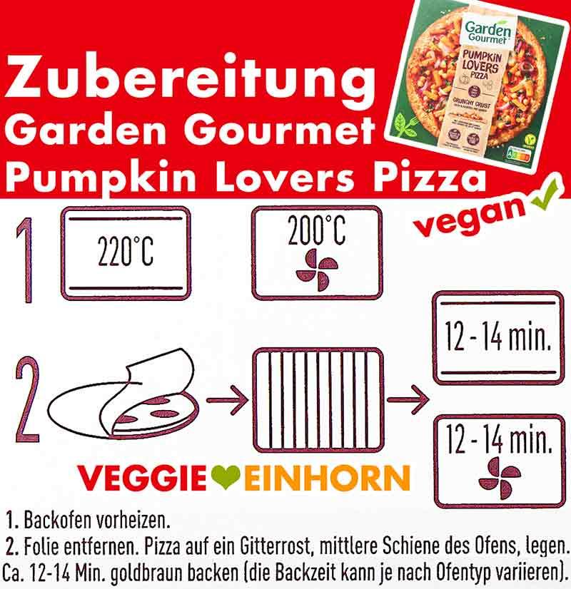 Zubereitungsanleitung der Garden Gourmet Pumpkin Lovers Pizza