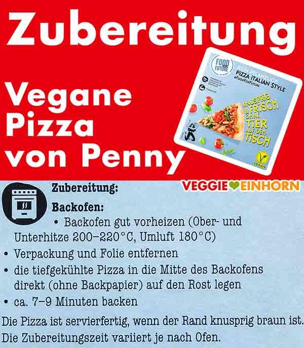 Zubereitungsanleitung der veganen Pizza von Penny