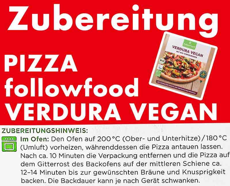 Zubereitungsanleitung der Pizza Verdura Vegan