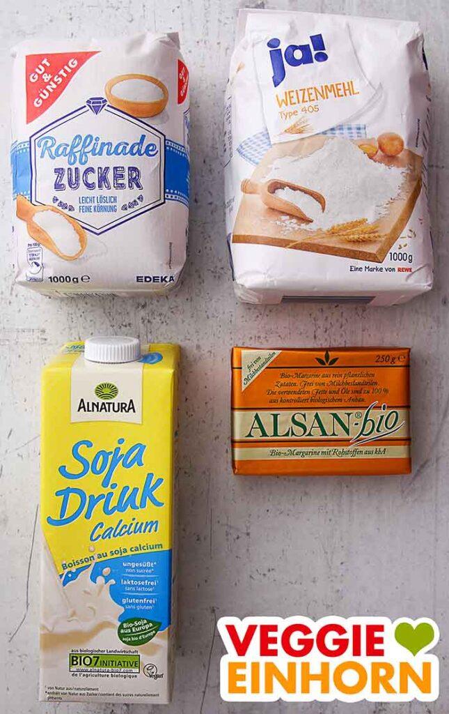 Zucker, Mehl, Sojamilch, vegane Butter