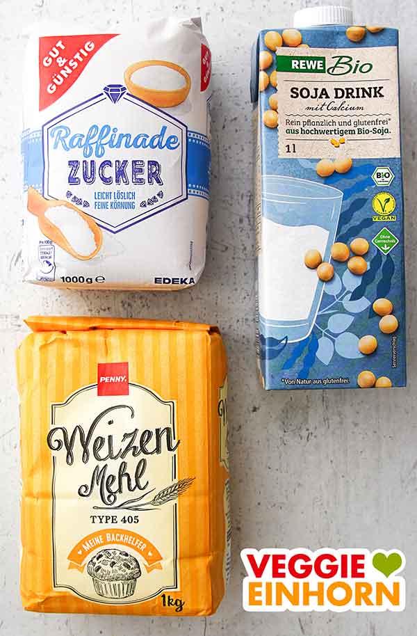 Zucker, Sojadrink, Mehl Type 405