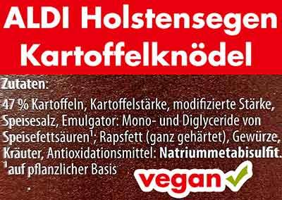 Zutaten der Kartoffelknödel von Aldi Holstensegen
