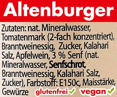 Zutaten der veganen Altenburger Worcestersauce