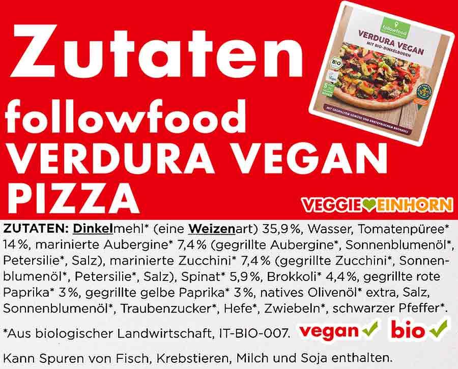 Zutaten der Pizza Verdura Vegan von followfood