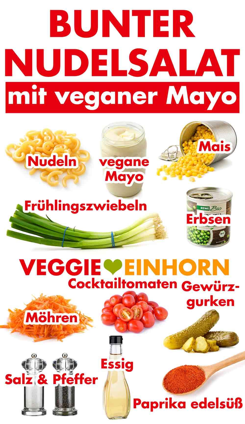Zutaten für bunten Nudelsalat mit Mayonnaise