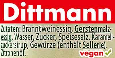 Zutaten Dittmann Worcestersauce