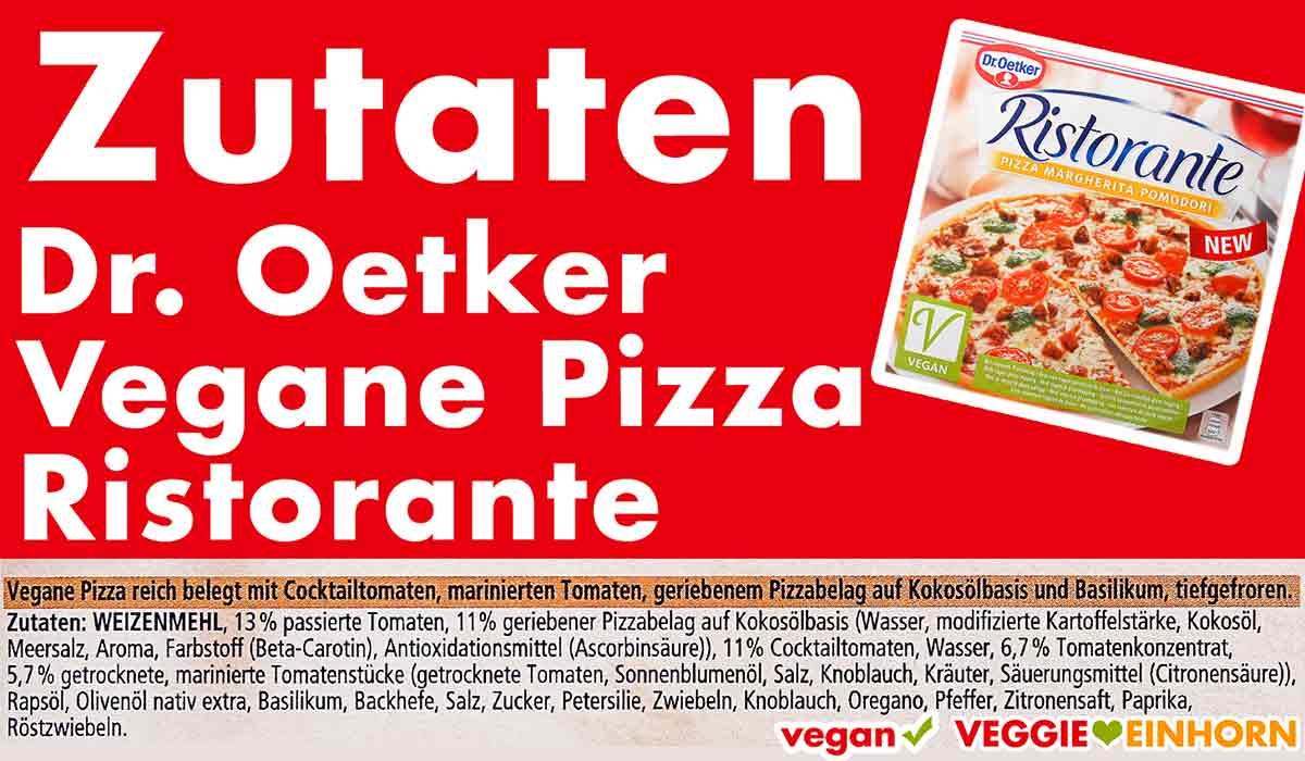 Zutaten der veganen Pizza Ristorante