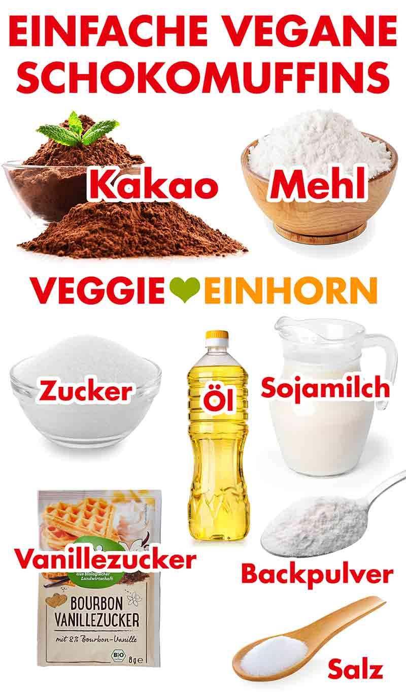 Zutaten für einfache vegane Schokomuffins