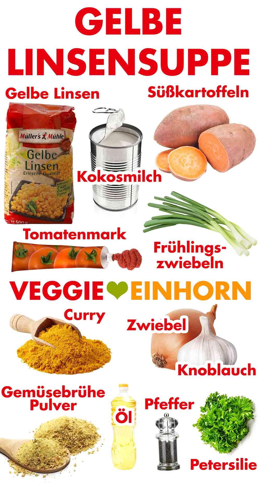 Zutaten für gelbe Linsensuppe mit Süßkartoffeln