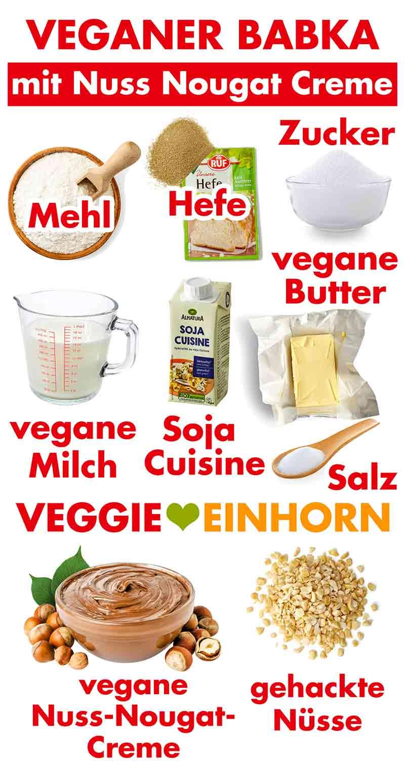 Zutaten für den veganen Nutella Babka