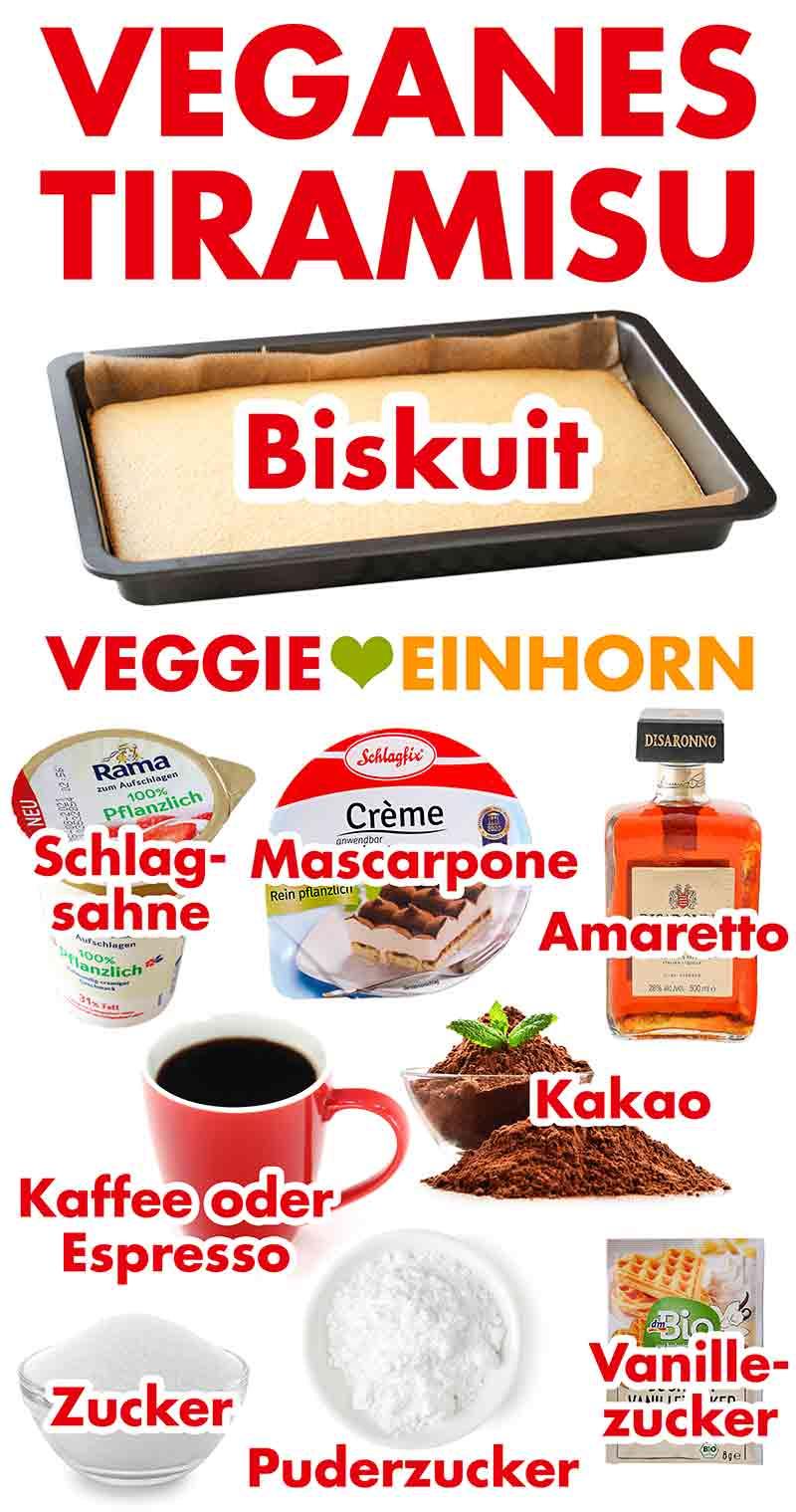 Zutaten für veganes Tiramisu mit Mascarpone