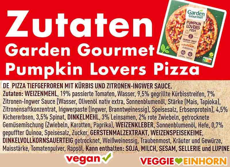Zutaten der Pumpkin Lovers Pizza von Garden Gourmet