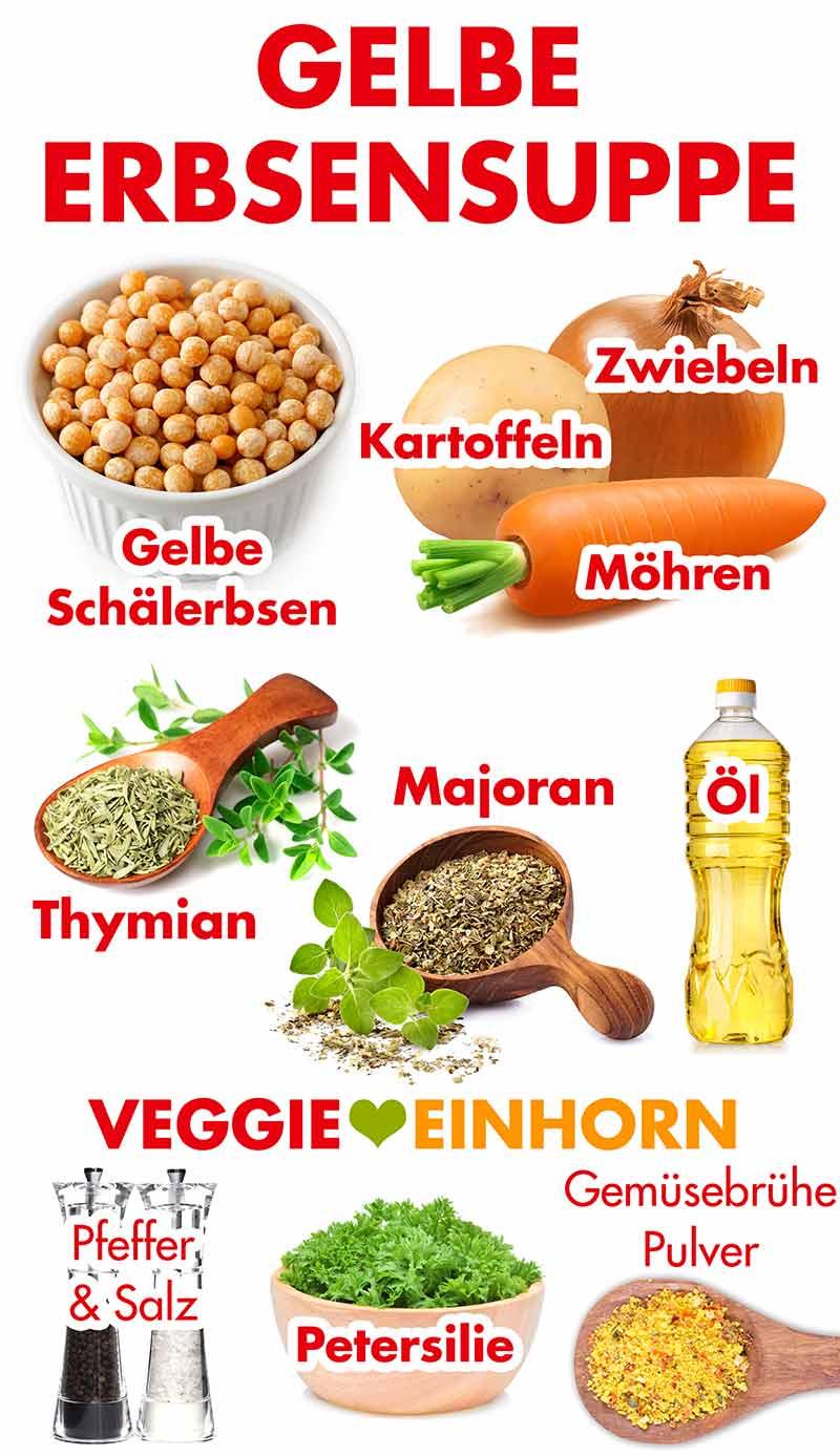 Zutaten für gelbe Erbsensuppe