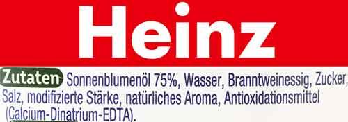 Zutaten der veganen Mayo von Heinz