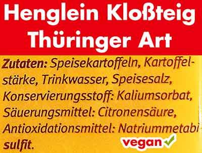 Inhaltstoffe von Henglein Kloßteig Thüringer Art