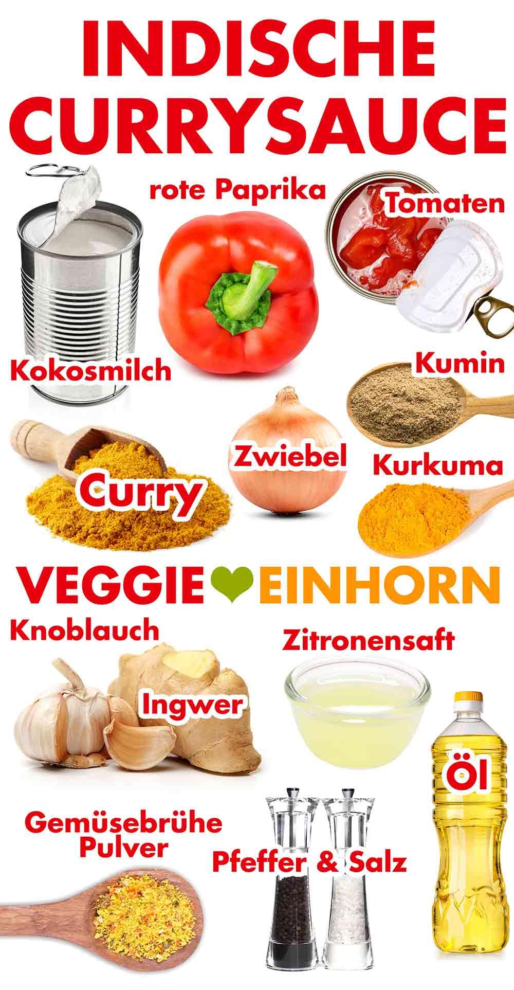 Zutaten für indische Currysauce
