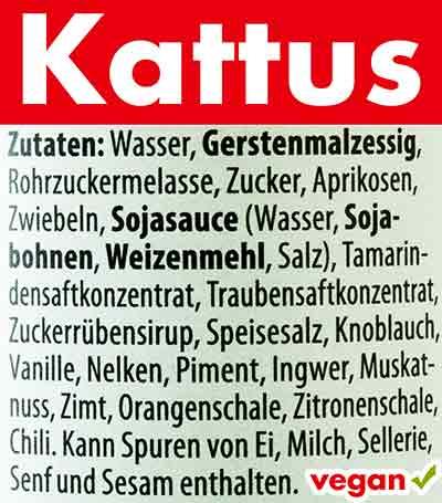 Inhaltsstoffe der veganen Worcestersauce von Kattus