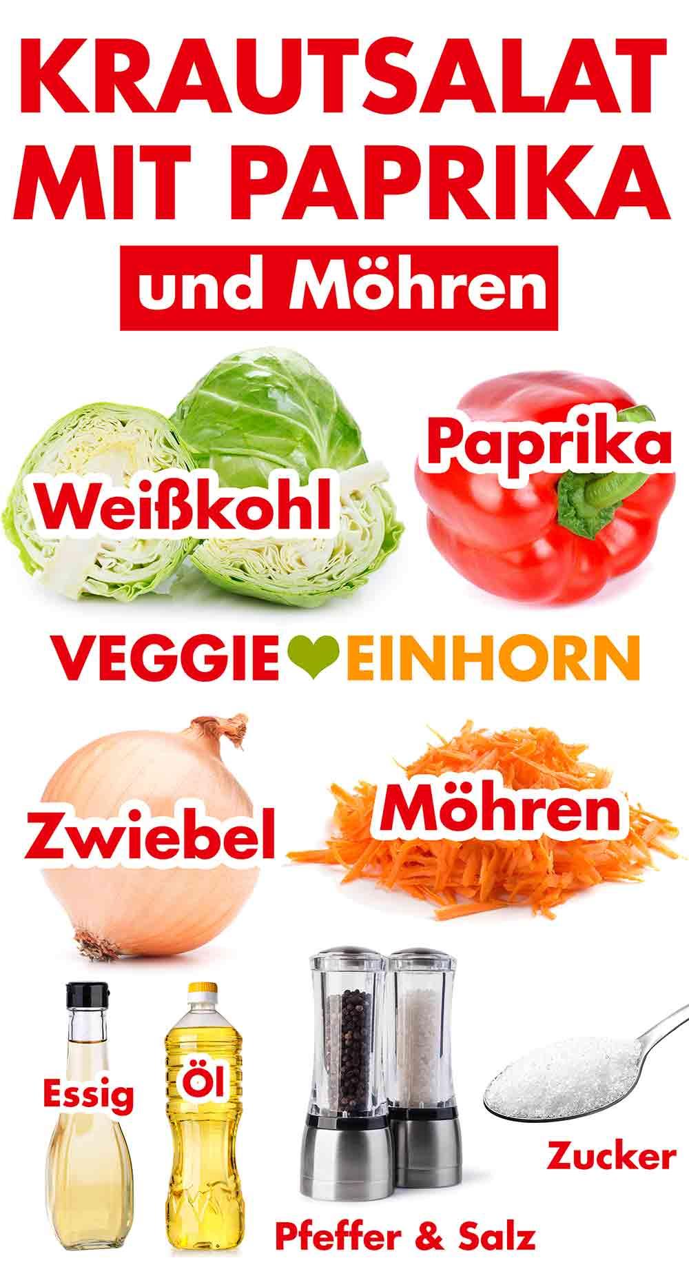 Zutaten für Weißkohlsalat mit Paprika und Karotten