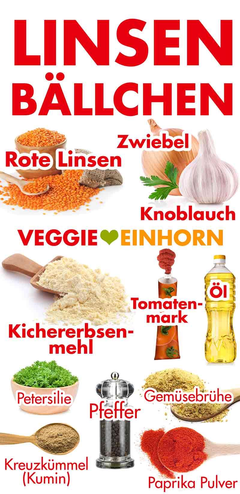 Zutaten für rote Linsen Bällchen