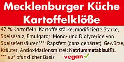 Zutaten der veganen Kartoffelklöße von Mecklenburger Küche