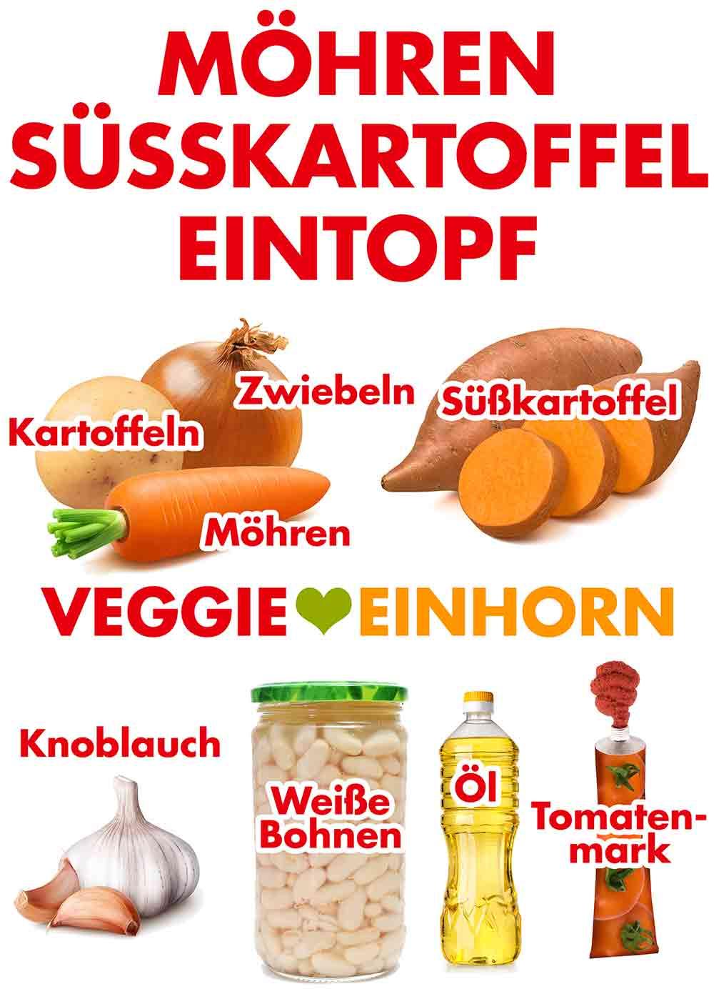 Zutaten für Möhren Süßkartoffel Eintopf