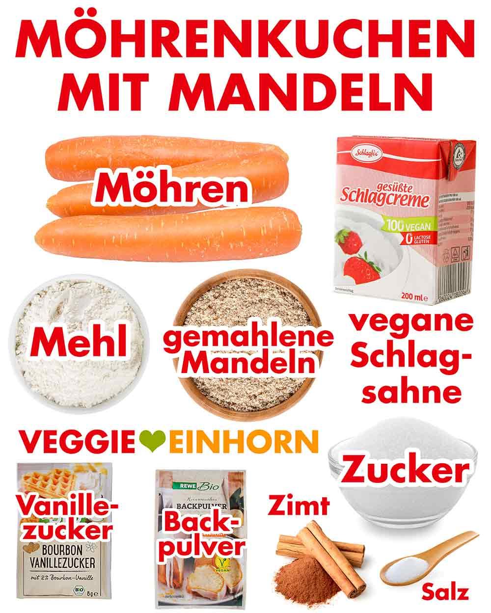 Zutaten für Möhrenkuchen mit gemahlenen Mandeln