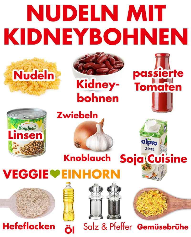 Zutaten für Nudeln mit Kidneybohnen