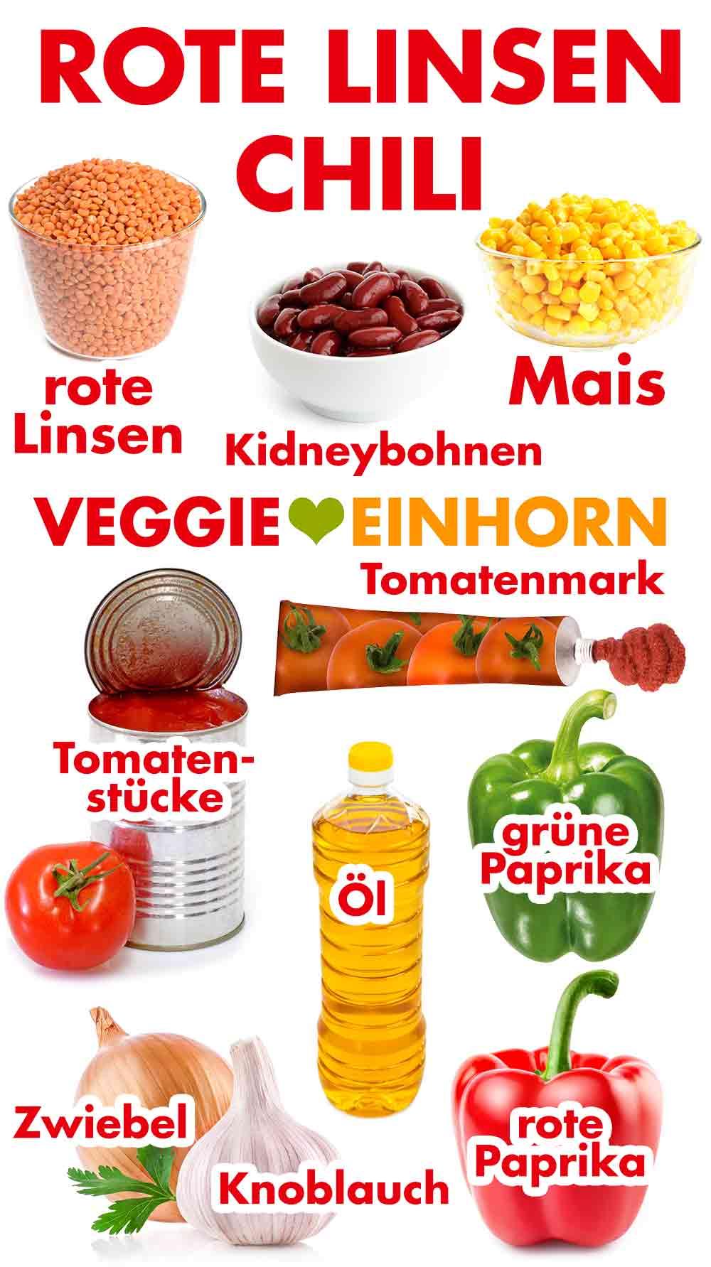 Zutaten für Linsen Chili