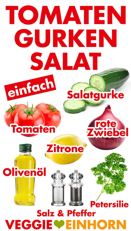 Zutaten für Tomaten Gurken Salat