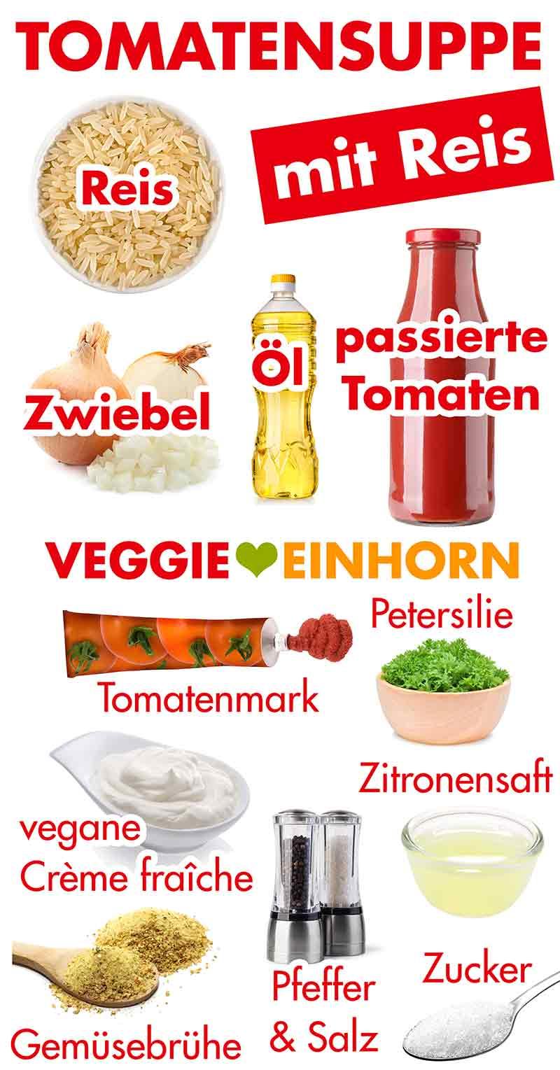 Zutaten für Tomaten Reis Suppe