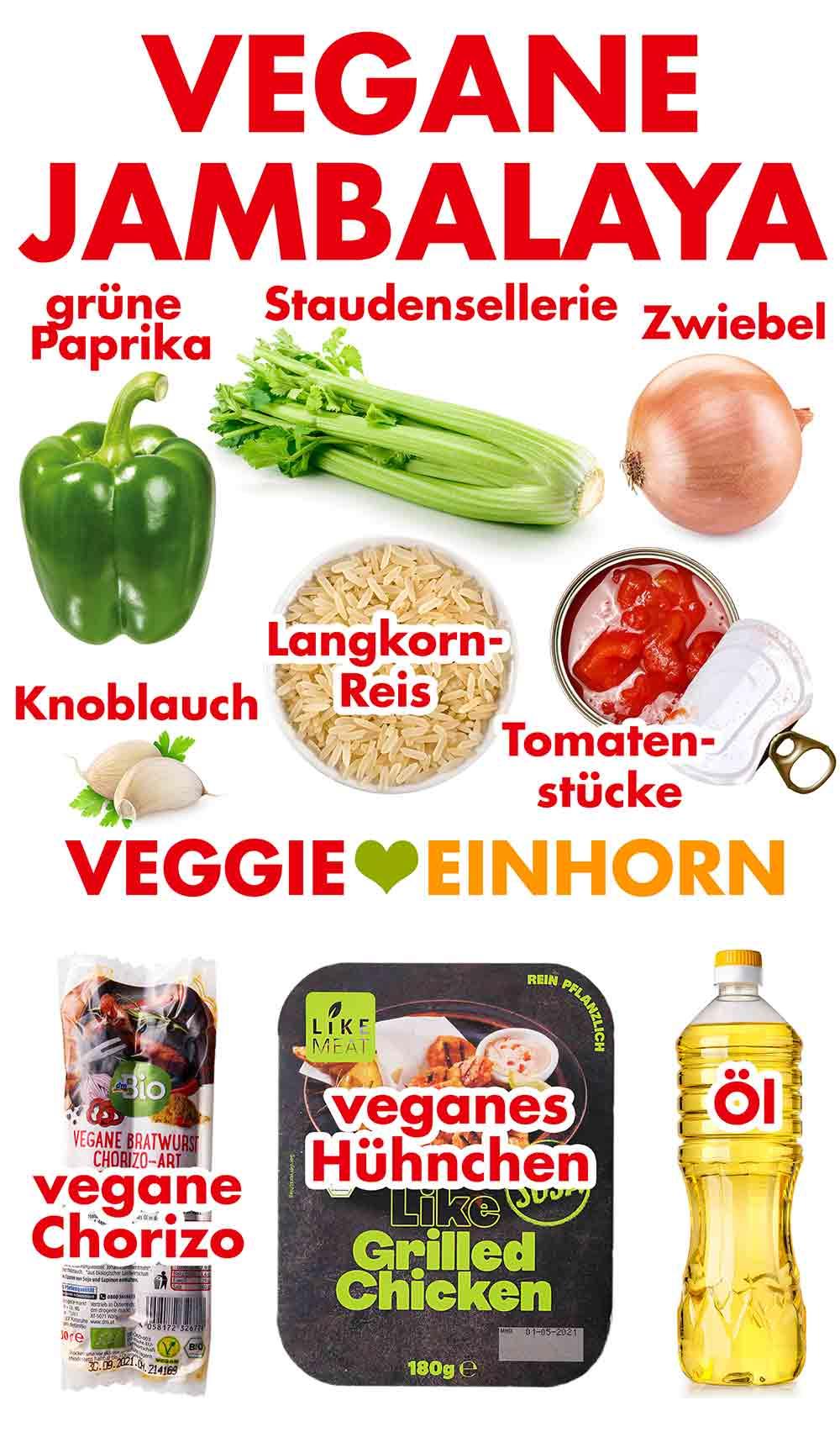 Zutaten für vegetarische Jambalaya