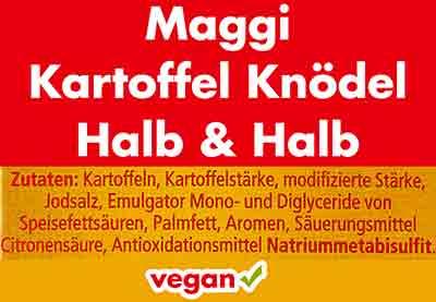 Zutaten von Maggi Kartoffelknödeln halb & halb