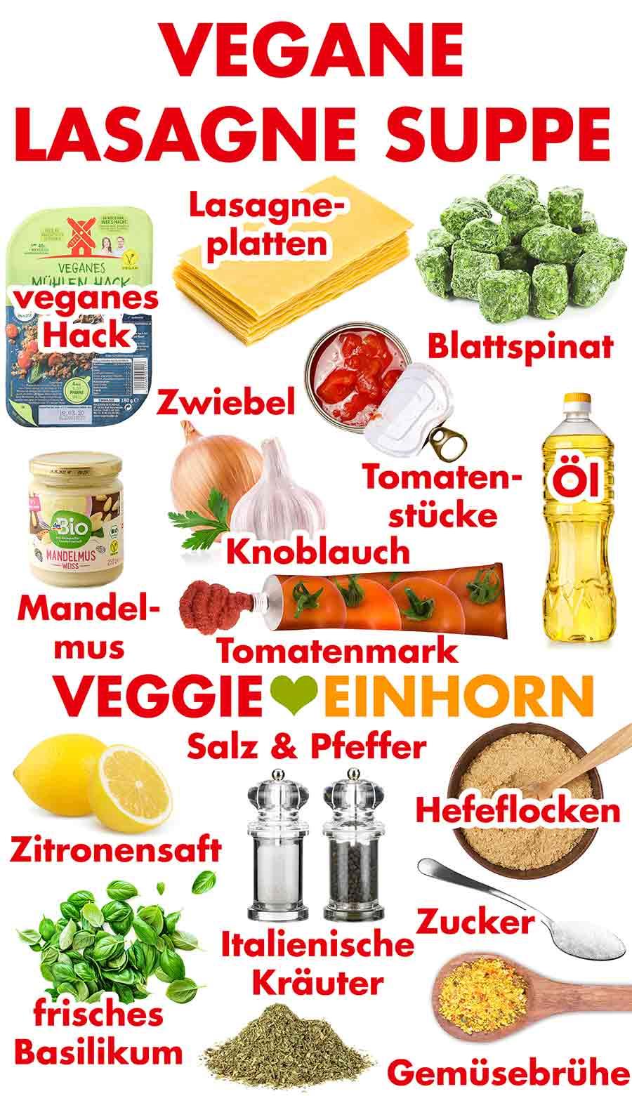 Zutaten für die vegane Lasagne Suppe