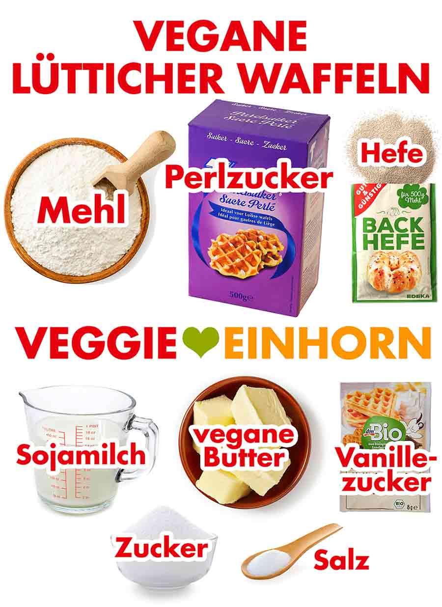 Zutaten für vegane Lütticher Waffeln