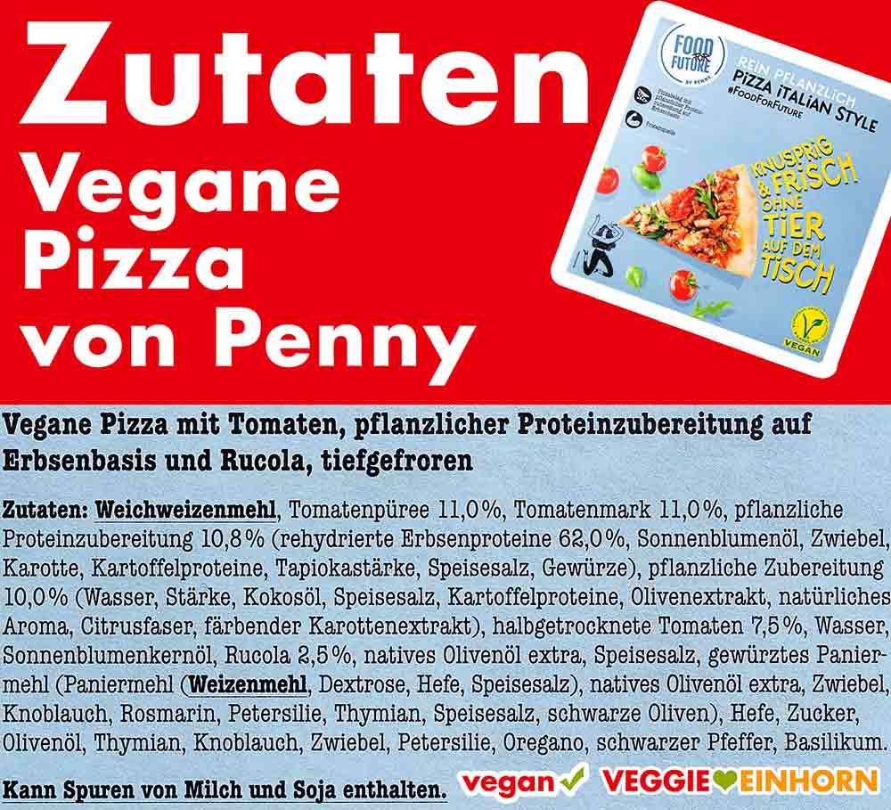 Zutaten der veganen Pizza von Penny