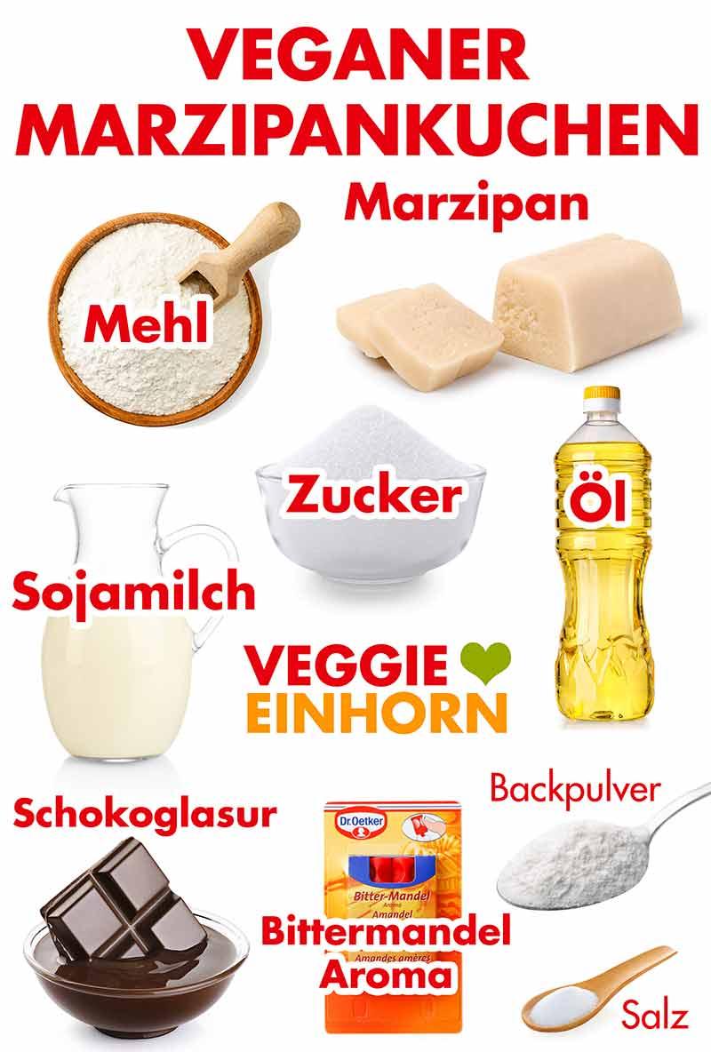 Zutaten für veganen Marzipankuchen