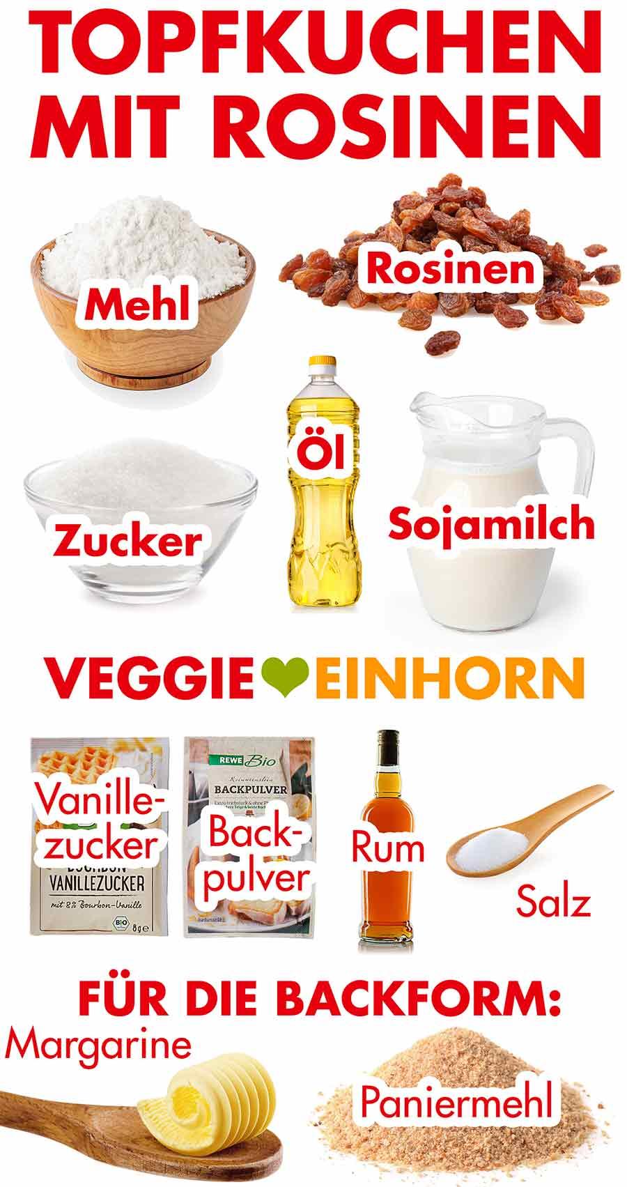 Zutaten für veganen Topfkuchen mit Rosinen
