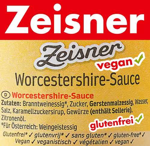 Zutaten von Zeisner veganer Worcestersauce