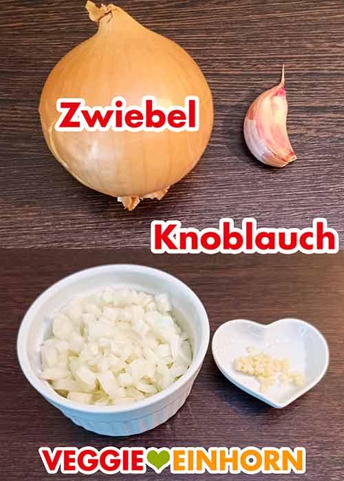 Eine Zwiebel und eine Zehe Knoblauch