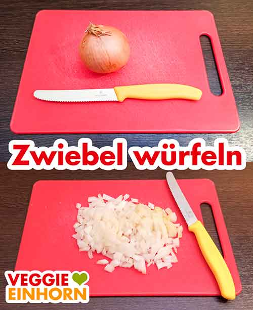 Schneidebrett, Messer und eine gewürfelte Zwiebel